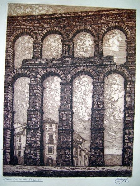 Acueducto de segovia grabados arquitectura frame grabados mapas antiguos atlas y libros - Acueducto de segovia arquitectura ...