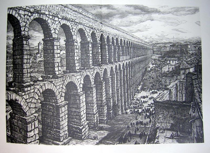 El acueducto de segovia grabados arquitectura frame grabados mapas antiguos atlas y - Acueducto de segovia arquitectura ...