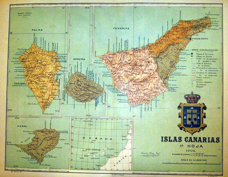 Islas canarias 1 hoja mapas frame grabados mapas - Graficas madrid palma ...