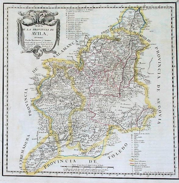 Mapa de la Provincia de Avila  Mapas  Frame  Grabados Mapas